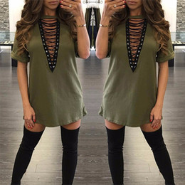 hot clothes for plus size NZ - free shipping Hot Selling Dresses for Women Clothes Fashion 2017 Long Sleeve Autumn Casual Loose V Neck T-Shirt Plus Size Dress S M L XL QZ9
