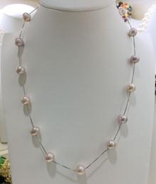 Großhandel Art- und Weiseperlen-Halskette 8mm runde natürliche Frischwasserrosa-Perlen 925 Sterlingsilber-Halskette, einfach und großzügig, schönes Geschenk