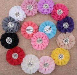 $enCountryForm.capitalKeyWord Australia - Kids Chiffon Petals Poppy Flower Hair Clips Shabby Fabric Lace Flowers+Pearl rhinestone gem For Girl Hair Accessories YH649