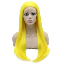 """$enCountryForm.capitalKeyWord Canada - 24"""" Long Yellow Silky Straight Half Hand Tied Heat Resistant Synthetic Fiber Lace Front Fashion Cosplay Party Wig S02"""