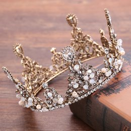 antique gold crown Canada - 2017 vintage antique gold plated Wedding Bridal Crystal Beaded Rhinestone dress Prom Headband Tiaras Crown