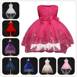 Barato Vestido Do Bebê Do Casamento-eClouds Girls Dress Lace Children Vestidos de festa de casamento Kids Evening Ball Gowns Formal Baby Frocks Clothes for Girl