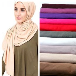 Jersey cotton scarf online shopping - colors women s cotton hiajb shawl big size solid color scarf muslim hijab cap jersey handkerchief