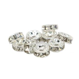 wholesale spacer beads Australia - 100pcs Round Rondelle Spacer Charm Bead Silver Tone White Clear Czech Crystal All Size For Jewelry DIY, IA01-01