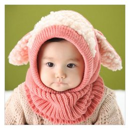 Barato Crochet Bebê Tricô-Back to School Kids Winter Hats Atacado Keep Warm Bunny Ears Crochet Algodão Baby Hat Knitting Photography Props