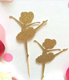 $enCountryForm.capitalKeyWord Australia - custom 30pcs Glitter cute Ballerina Cupcake Toppers girl baby shower baptism wedding Ballet Birthday, Dance Party Decorations