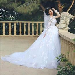 Discount islamic wedding gowns dubai - Lace Appliques Muslim Arabic Islamic Wedding Dresses 2016 Ball Gown Illusion Long Sleeves Puffy Skirt Dubai Kaftan Brida
