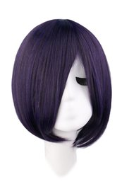 35 Hair UK - Short Straight Anime Cosplay Wig Costume Black Purple 35 Cm Synthetic Hair Wigs