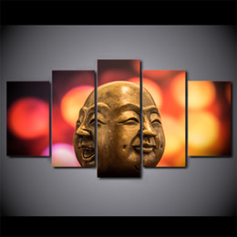 Painting Faces Australia - 5 Pcs Set Buddha Conflict Doll Face Canvas Paintings Home Decor Wall Art Framed Posters HD Prints Pictures Painting