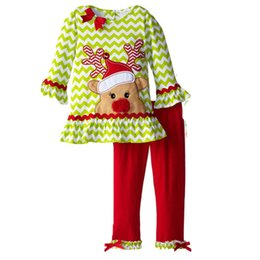 Chinese  Children Kids Christmas Clothes Xmas Outfits For Girls Baby Cotton Striped T-shirts Ruffles Pants Suits Babies Deer Clothing Sets For 1-6T manufacturers