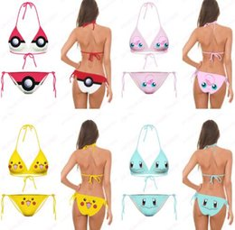 Barato Bonito Praia-Fashion Bikini Set Girls Squirtle Swimsuit Cute Smiley Face Beachwear 3D Print Jigglypuff Pattern Two Piece Swimwear Bom