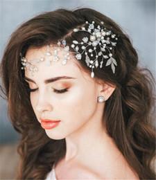 venda por atacado Pérola Headband Tecer Cabelo Cadeia de Jóias de Casamento Nupcial Flor Coroa Tiara Acessórios Para o Cabelo Partido Prom Cocar Prata Cabeça Pedaço Barato