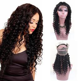 lace full hair lines 2019 - Deep Wave 360 Full Lace Band Frontal Natural Hair Line Malaysian Virgin Human Hair 360 Lace Band Frontal Closure With Ad