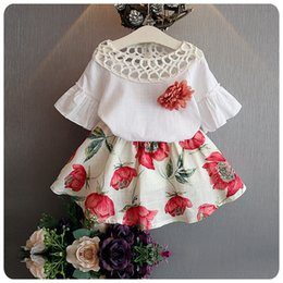 Best Wholesale T Shirts Australia - wholesale 7 style two-piece Printed sleeveless cartoon t-shirt+short skirt cartoon outfit suspenders two-piece outfit best choice for girls