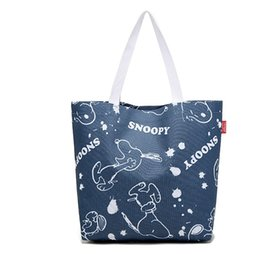 Wholesale bags snoopy for sale - Group buy 2017 Hot Sales Denim Blue Snoopy waterproof Canvas reusable shopping bags