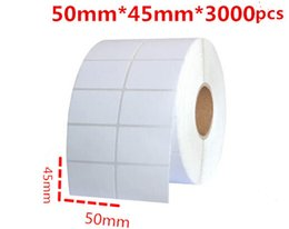 White Blank Sticker Paper NZ - 45*50mm 3000pcs roll blank or white paper free shipping barcode self adhesive sticker label