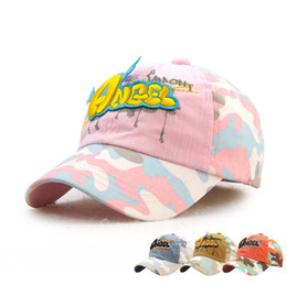 Barato Venda Por Atacado Para Capas De Desenhos Animados Para Crianças-Original Camouflage Boy Girls Snapback Summer Baseball Cap Kids BabyAdjustable Child Caps Moda Cartoon Crianças Chapéus Atacado