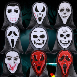 Long Face Mask NZ - Halloween Costume Party Long Face Skull Ghost Scary Scream Mask Face Hood Scary Horror Terrible Mask with Hood Halloween Gifts Toy MK55