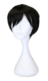 35 Hair UK - Men Short Straight Cos Cosplay Costume Party Wig Black 35 Cm Synthetic Hair Wigs
