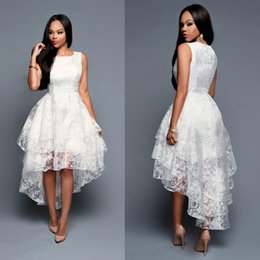 White lace evening dresses short at front long at back