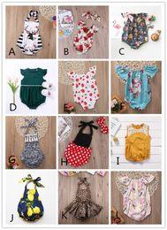 Venta al por mayor de 12 Estilos Bebé Niña Traje de mameluco Ropa para niños pequeños Ropa de niños pequeños Florales Fruta sólida Leopardo Mono Body Ruffles Leotards 0-2Y