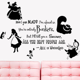 CloCk abstraCt online shopping - KW31714 Alice in Wonderland Rabbit Cat Clock Wall Vinyl Sticker Decal Home Decor Removable Wall Art Murals Paper