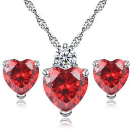 Großhandel Mode Versilbert Diamant Kristall Zirkon Herz Liebe Ohrringe Halskette Schmuck-Set Für Frauen Dame Hochzeit Schmuck N29E53