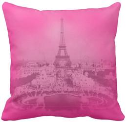 "$enCountryForm.capitalKeyWord NZ - Vintage Paris & Eiffel tower Pink exposure Unique Throw Pillow Case, Squar Sofa Cushions Cover, ""16inch 18inch 20inch"", Pack of X"