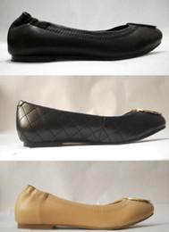 Brand sz online shopping - hot sale Famous Brand Designer Travel Prom Flats Metal Buckle Ballet Flats Women Sheepskin Genuine Leather Shoes Sz