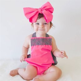 Mameluco Rojo Del Cordón Baratos-2017 Girls Baby Rompers Summer Suspender Toddler Onesies Lace Rose Red Mameluco Ropa Lindo Infantil Body Clothes With Headbands