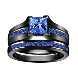 $enCountryForm.capitalKeyWord Canada - Fine Princess cut 6mm blue Sapphire simulated Diamond 10KT Black Gold Filled GF 2-in-1 Engagement Wedding Ring Set for christmas gift