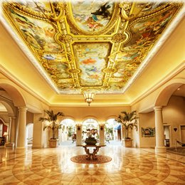 Wholesale Photo Wallpaper Large 3d Interior Ceiling In The Lobby Living Room Conference High Quality Murals For