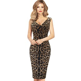 Robe De Tunique Pas Cher-New Fashion Womens Elegant Sexy Hot V Neck Leopard Drapé Tunique sans manches Casual Party Club Clubwear Robe en caoutchouc