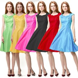Barato Vestido Zíper Slim Traseiro-Mulheres Candy Color Dress Party Summer Style Slim Fit Sleeveless Scoop Pescoço Back Zipper Mini Vestidos