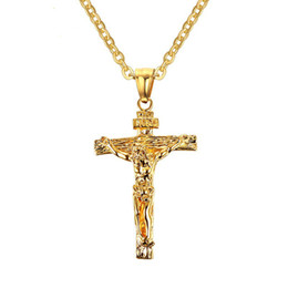 Vintage crucifixes online shopping - Mens Necklaces Stainless Steel Christian Jesus Crucifix Cross Pendant Necklaces for Men Vintage Fashion Jewelry quot PN