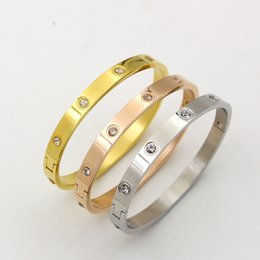 Chain Cuffed braCelet online shopping - Stainless Steel Love Bracelets Bangles for Women and Girls with Stone Rose Gold silver gold Plated Cuff Bracelet Button Accessory