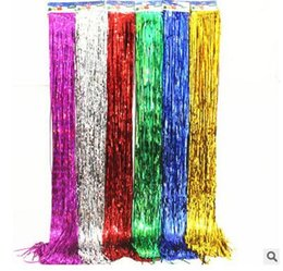 wall curtains UK - Flashing ribbon curtain tassel Decorations Marriage birthday Christmas party decorations Photo background wall Scene layout props