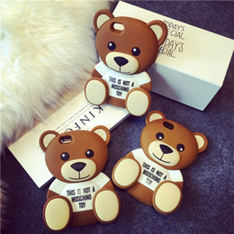 Wholesale 3D Cute Cartoon Brown Bear Soft TPU Silicone Rubber Case for iPhone s Plus Plus s SE Cell Phone Bags Cover