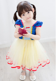 Robes Enfants Pour Occasions Spéciales Pas Cher-New Princess Snow White Robes Girl Occasions spéciales Robe Baby Children Cosplay Costumes Dress Kids Bow Party Show Dancing Tutu Dress