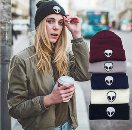skull fashion trend 2019 - New Europe Fashion Trend alien embroidery map street knitting hat men and women warm wool hat discount skull fashion tre