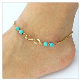 Wedding Beach Foot Jewelry Fashion Anklets Bells Chains Turquoise Beads Chain Double Zipper Anklet Bracelet Accessories Feet