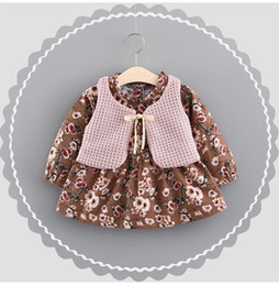Floral Boutique Clothing NZ - Girls Floral Dresses+Knit Waistcoats Outfits Spring 18 Kids Boutique Clothing Korean Fashion Baby Girls Long Sleeves Dresses 2 Pieces Set