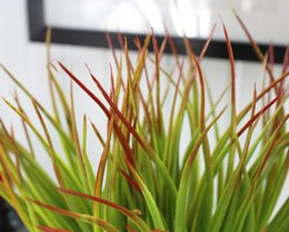 Green Plastic Grass Plant Canada - 1 PCS Artificial Plastic Red Top Green Long Leaves Grass Plant Home Decoration F371