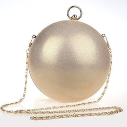 Discount bridal hand bag ivory - Wholesale- Cute Funny Bags Round Spherical Evening Clutch Bag Bridal Wedding Clutch Purse Fashion Ball Chain Hand Bag Sh