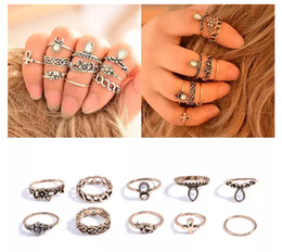 Christmas Gift Nails Australia - Women Vintage Retro Silver Gold Plated Elephant Moon Crystal Joint Knuckle Alloy Nail Ring Set Of 10pcs Christmas Party Gift C49L