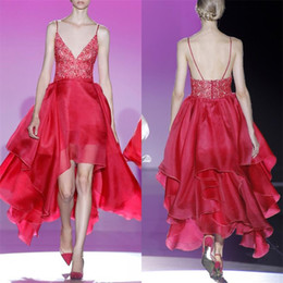 Red Dress V Neck Straps Canada - 2019 Deep V Neck High Low Prom Dresses Red Spaghetti Straps Organza Ruffles Lace Sequin Beaded Backless Sexy Celebrity Party Evening Gowns