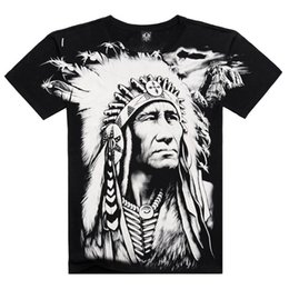 Barato Camisas De Caracteres Por Atacado-Atacado- T-shirt novo Homens Estilo de Verão 2016 Moda Men's Cotton Short Sleeve 3D Printed Indian Character Men Tops Hip Hop T shirts
