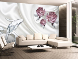 backdrop tv NZ - 3D Stereo Rose Crystal Dolphin TV Background mural 3d wallpaper 3d wall papers for tv backdrop