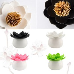 $enCountryForm.capitalKeyWord NZ - Wholesale- Beautiful New Cotton Bud Holder Qualy Design Lotus Cotton Swab Box Decorative Storage Boxes Toothpicks Holder Toothpick Case