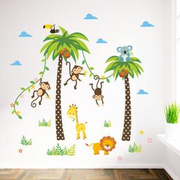 China Cartoon Monkey Swing on the Coconut Tree Wall Stickers for Kids Babies Room Wall Decoration Cloud Grass Bird Elephant Giraffe Wall Mural Art suppliers